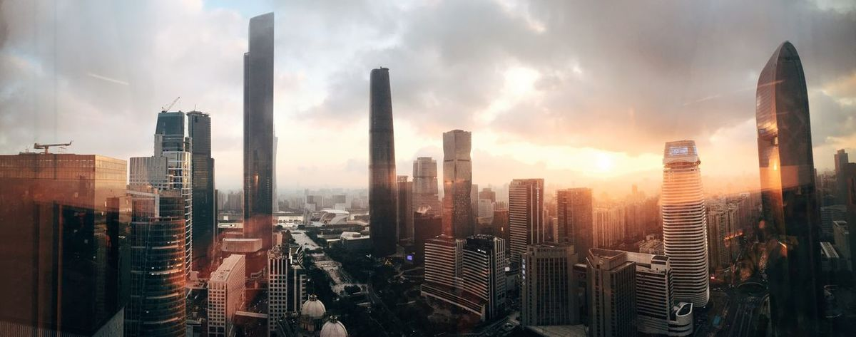 Guangzhou 广州 New Town Sunset City Buildings & Sky Building