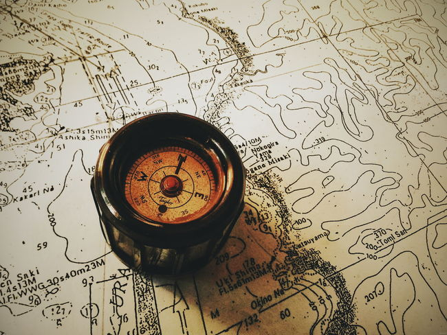 Directions Vintage Throwback Map Compass Navigation
