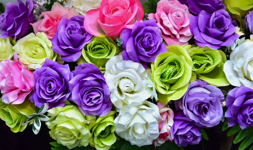 Beauty In Nature Bouquet Bunch Of Flowers Close-up Flower Flower Arrangement Flower Head Flowering Plant Fragility Freshness Full Frame Inflorescence Multi Colored No People Outdoors Petal Plant Purple Rosé Rose - Flower Vulnerability