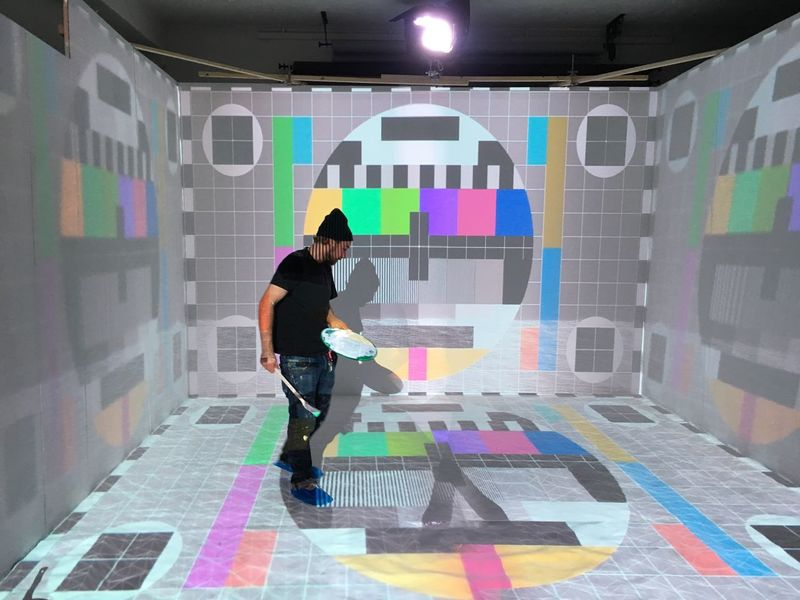 Person Technology Test Pattern Projection Mapping Multi Colored Music Video Shoot! Behind The Scene Iphone6s