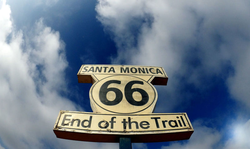 End of the trail American Dream California Coast California Dreamin California Love Classic Pier Photos Route 66 Route Sign Santa Monica Pier Sign Tourist Attraction  USA Cloud - Sky Day End Of The Trail Low Angle View No People Outdoors Road Sign Route 66 Sign Route66 Santa Monica Beach