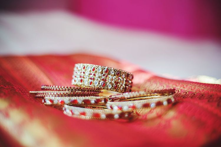 Close-Up Of Bangles On Sari