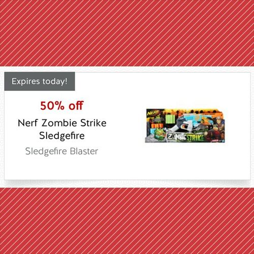 Day 1 of Target Targetcartwheel 50% off a toy. Today is the Nerf sledgefire blaster. I own it already and it's Awesome Getitforyourkid Getitforyourself Couponcommunity