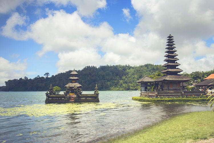 Floating Temple in Bedugul, Bali, Indonesia ASIA Bali, Indonesia EyeEmNewHere INDONESIA Sky And Clouds Architecture Beauty In Nature Bedugul Temple Cloud - Sky Day Floating On Water Lake Lake View Nature Nautical Vessel No People Outdoors Place Of Worship Religion Sky Spirituality Travel Destinations Tree Vacation Water