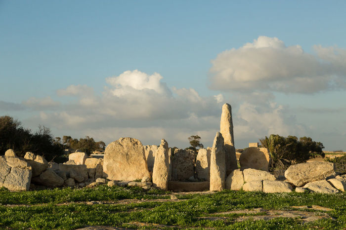 stones of the megalithic temple of Hagar Qim Ancient Civilization Ancient History Cloud - Sky Day Destination Euroopean Culture Hagar Qim History Malta Megalithic Nature No People Outdoors Prehistoric Sky Stones Temple Worship
