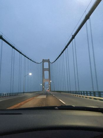 What Who Where Bridge - Man Made Structure This is on our way home. On the Mackinaw Bridge. It seems to be beautiful no matter what time of day you cross it. Architecture Connection Engineering Evening View No Edit, No Filter, Just Photography For The Love Of Photography Taken On Mobile Device Michigan, USA Femalephotographer Photography In Motion The Road- Image Gallery No People Enjoying The Veiw  Quality Time I Value EyeEm Best Shots - Architecture EyeEm Masterclass