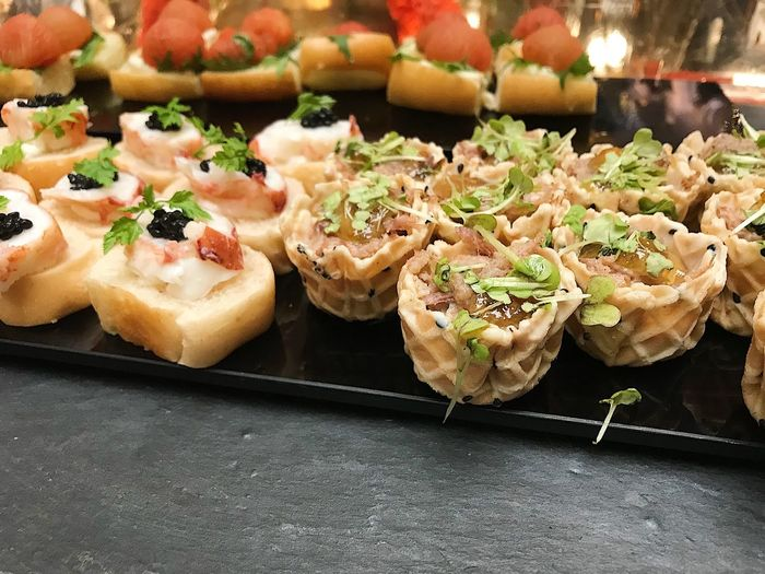 Close-up of served food on table