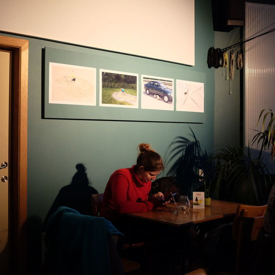 Oostende Belgium 2015 Absence Arrangement Auto Post Production Filter Bar Belgium Chair Drinking Empty Flooring Girl Home Home Interior Indoors  Lifestyles Music Occupation Oostende, Belgium Photoexhibition Restaurant Room Sitting Table Togetherness Transfer Print Window