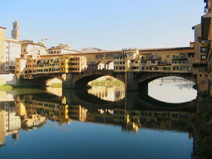 Firenze Ponte Vecchio Romantic Place Riflessi Sull'acqua Fiume Arno