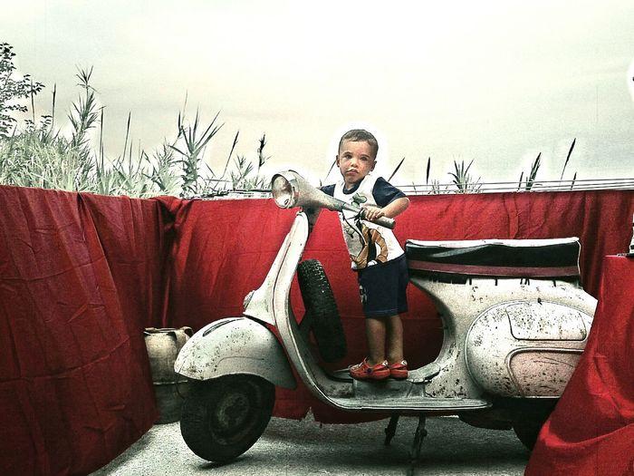 Moto D'epoca старое мото малыш красный Rosso Взгляд  винтаж Vintage