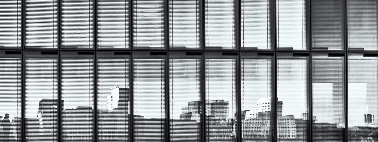 Reflection of skyline of New Harbour buildings in the glassfront of an office building in B&W B&w Photography Black And White Photography #abstract #clouds #sky #lines #light #art #ArtWork Pattern Full Frame No People Building Exterior Built Structure Backgrounds Blinds Architecture Metal Close-up Window In A Row Building Day Repetition Outdoors Design Closed City