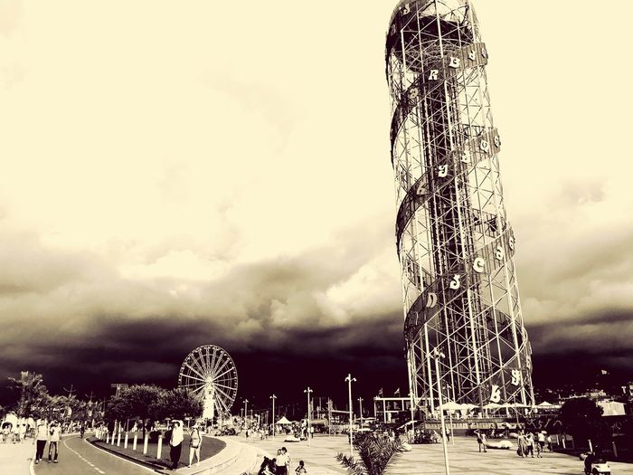 Batumi Sky Cloud - Sky Architecture Built Structure Low Angle View Nature Day No People Building Exterior Outdoors Tree Tall - High Plant Amusement Park Arts Culture And Entertainment Amusement Park Ride Decoration Overcast The Past Autumn Mood EyeEmNewHere Autumn Mood 50 Ways Of Seeing: Gratitude