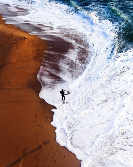 High angle view of people on beach