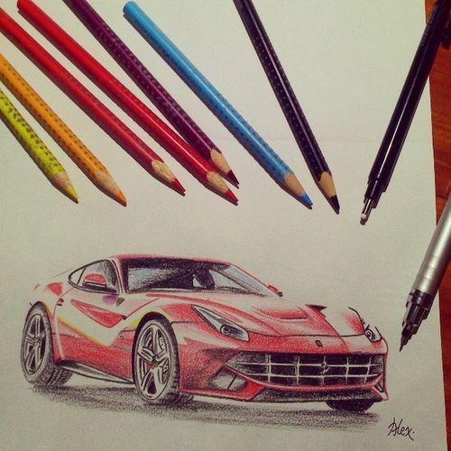 如果說畫車燈有如畫龍點睛 我今天應該坐這臺跑車出門的... Ferrari F12 Berlinetta Italy Italiansupersportracecarlegendblueautoautomotivedesigncolorpencilcolorfuldrawsketchartwork