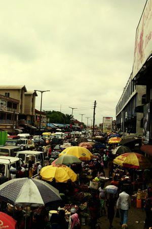 Hello World Yellow Cloudy Messy Life Street Market