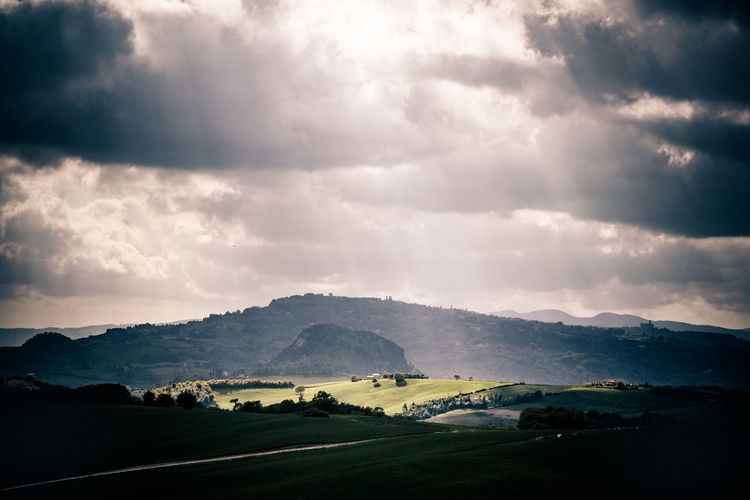 Beauty In Nature Cloud - Sky Countryside Day Landscape Light And Shadow Mountain Nature No People Outdoors Retro Styled Scenics Sky Spring Tranquil Scene Tranquility Travel Travel Destinations Tuscany Tuscany Countryside Vintage