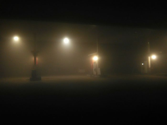 just a night out Foggy Weather Empty Filling Station Mist Smoggy Sky Loner Journeys Illuminated Lighting Equipment No People Shades Of Winter The Graphic City Capture Tomorrow