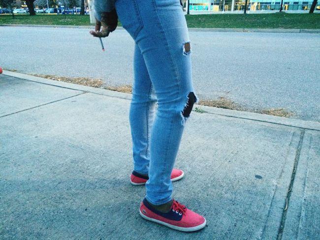 Chilling Smoke Ripped Jeans Follow Me I'll Follow Back Followme Follow4follow Millennial Pink