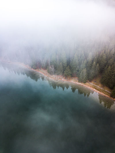 Fog Beauty In Nature Tranquility Tranquil Scene Scenics - Nature Plant Tree Water No People Reflection Lake Nature Sky Day Cloud - Sky Non-urban Scene Idyllic Outdoors Hazy  Mist Minimalism Autumn Aerial View Dronephotography Aerial Photography