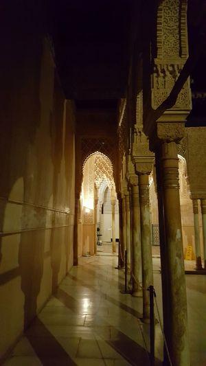 Arch Architectural Column Arabic Culture Palace Alhambra De Granada  Religion