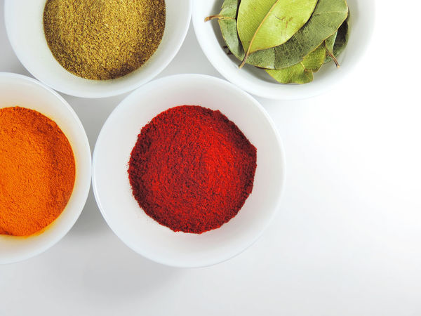 Spices powders and leaves in white spices arrangement on white background. Isolated Bowl Close-up Cooking Ingredients Food Food And Drink Freshness Ground - Culinary High Angle High Angle View Indoors  Ingredient Isolated White Background No People Paprika Spice Spice Powder Spices Spices And Herbs Spices Collection Spices Of The World Still Life Top View Wellbeing White Bowl