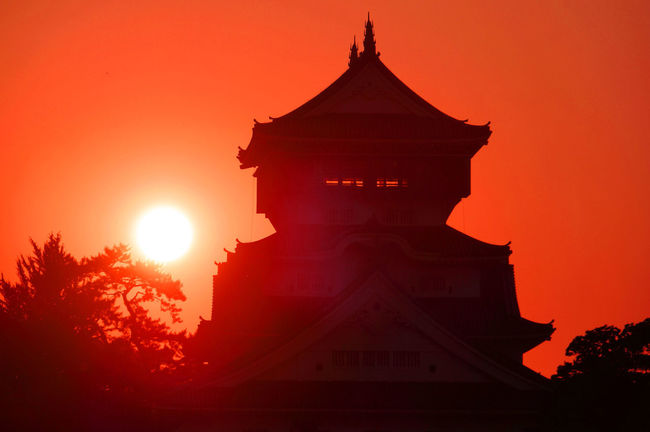 Kokura Castle, Japan Architecture Belief Bright Building Building Exterior Built Structure History Lens Flare Nature No People Orange Color Outdoors Place Of Worship Religion Silhouette Sky Sun Sunlight Sunset The Past Tree