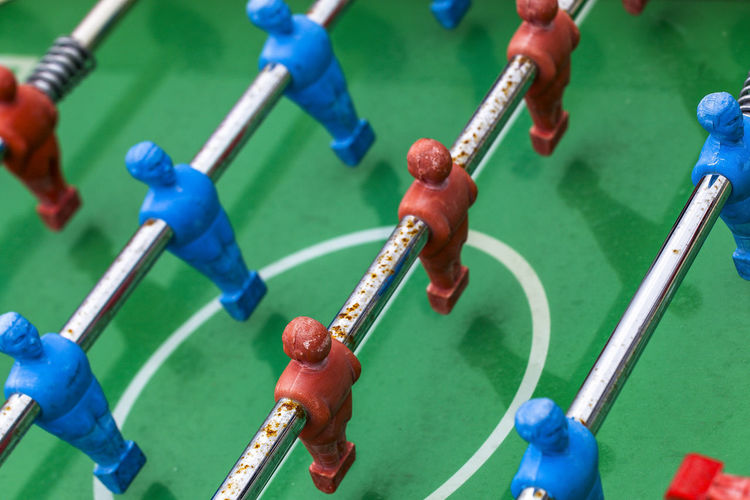 Directly above shot of foosball