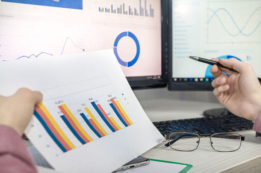 Monitor Phone Money Calculation Reports Bar Chart Human Hand Business Finance And Industry Chart Computer Monitor Finance And Economy Technology Finance Statistic Report Office Desk Diagram Financial Literacy Glasses Planning Business Prosperity & Luck Office Hours Human Body Part Economic