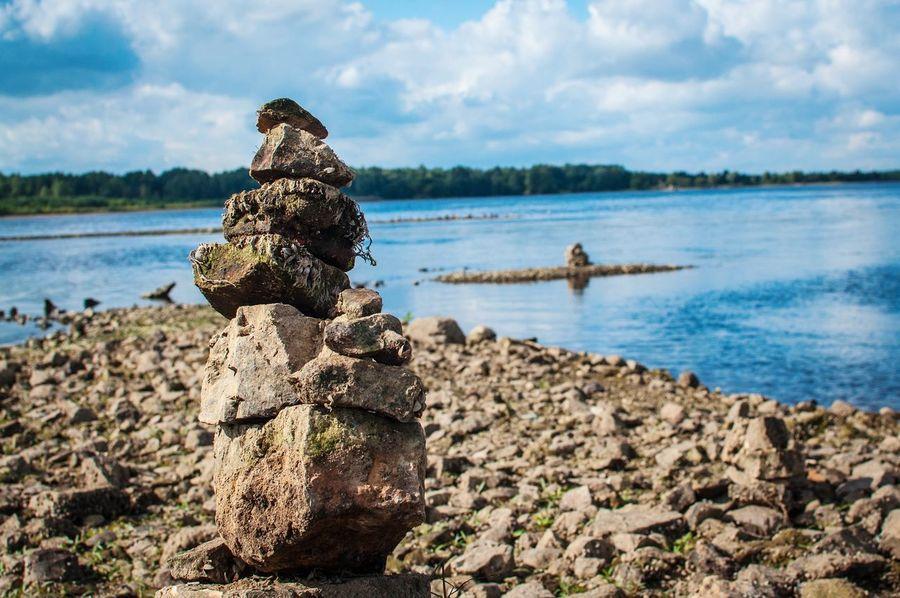 Water Nature Sky Rocks Pyramid Rocky Coastline Blue Sky Rock Pile Latvia Meinarda Sala