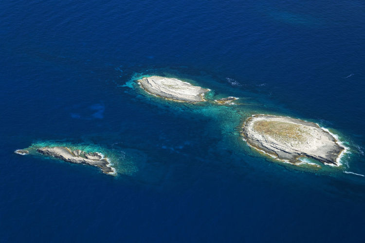Aerial view of sea and island
