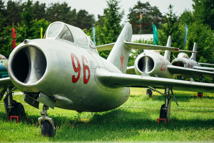 BOROVAYA, BELARUS - June 04, 2014: MiG-15 UTI is Russian Soviet high-subsonic fighter aircraft. It was used as effective threat against supersonic fighters of United States in Vietnam War. Borovoe Mig Mikoyan Mikoyan MiG-15 Minsk Aerodrome Aeroplane Air Airbase Airdrome Airfield Airplane Airport Attack Aviation Belarus Field MiG 15 Mig-15 Military Plane Sky Soviet Transport Union Ussr War Wings