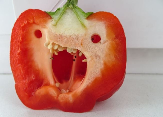 Angry Face Anthropomorphic Face Bad Bell Pepper Dangerous Evil Food Freshness Fury Healthy Eating Monster Paprika Pepper Rage Rampage  Red Riot Sweet Pepper Tooth Vegetable Vegetarian Food Wicked Wrath