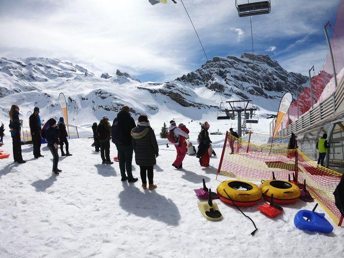 Travel Titlis,Switzerland Titlis Playpark Snow Mountain Winter Snowboarding Cold Temperature Men Sky Cloud - Sky