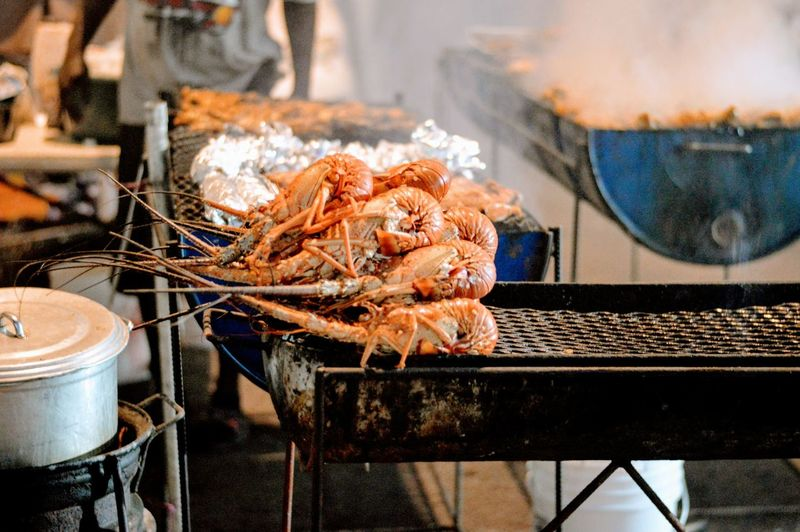 Close-up of prawn on grill
