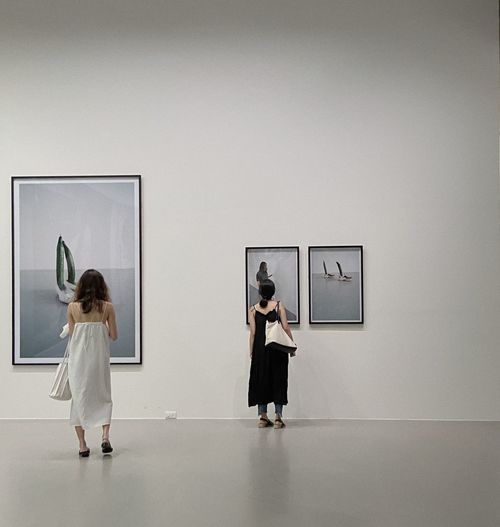 Rear view of two women standing in museum
