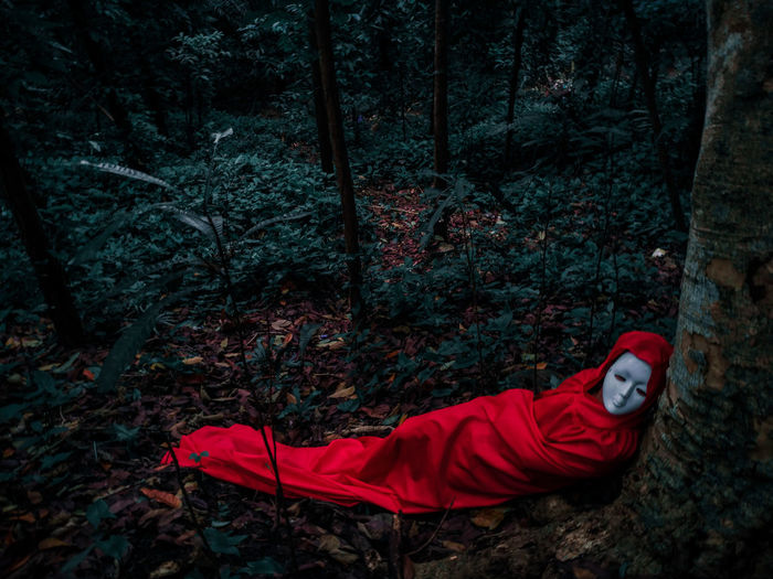 Man sleeping on tree trunk in forest