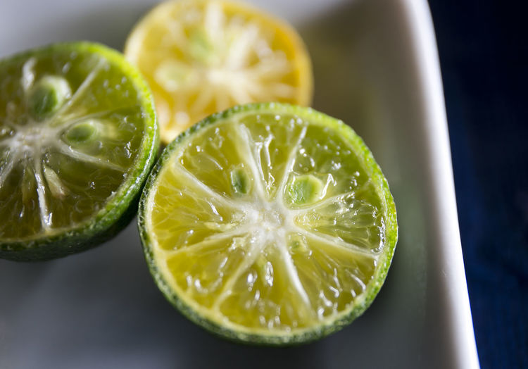 Fresh Green Limes on the White Ceramic Plate Circle Growth Acidic Citric Citric Fruit Citrus Fruit Close-up Cross Section Cut Up Food Day Food Food And Drink Freshness Fruit Healthy Eating Indoors  Lime Ready-to-eat Sour Taste Still Life
