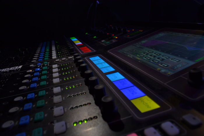 Mixdown Colour Fader Focus On Foreground Illuminated Mixing Console Muisc Night Selective Focus