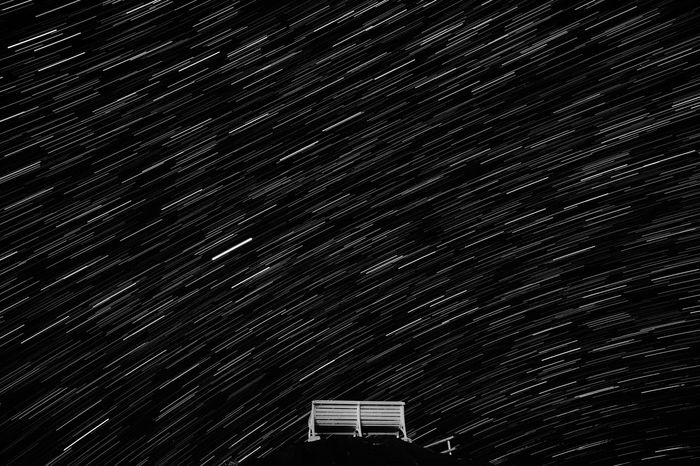 Goodnight No People Night Sky Low Angle View Chair Art Starry SkyNight Sky Japan The Great Outdoors - 2017 EyeEm Awards Nightphotography Nikon Df Monochrome Startrails Lost In The Landscape