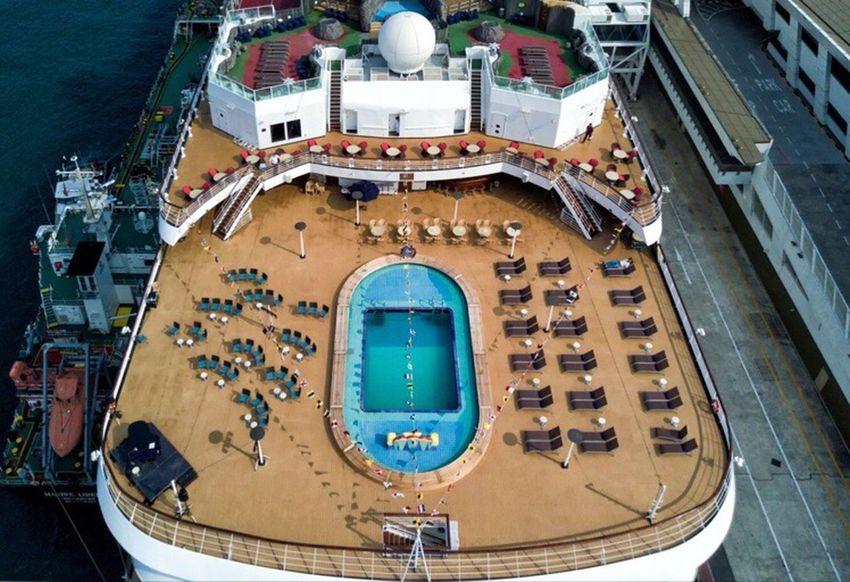 Flying High High Angle View Outdoors Day Topdown Dronephotography Droneshot No People Mavicpro Cruiseship Cruiseshipphotography