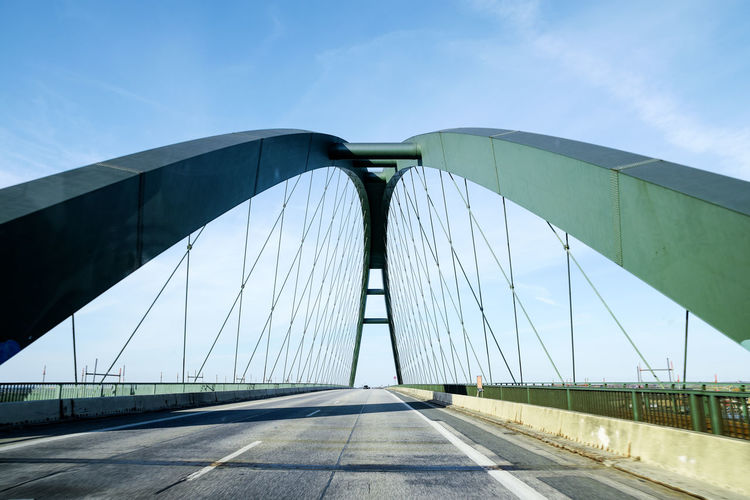 Fehmarn Sound Bridge (German: Fehmarnsundbrücke), suspension bridge with steel arches connecting the German mainland with the island in the Baltic Sea and belongs to the Vogelfluglinie Architecture Baltic Sea Construction Fehmarnsundbrücke Perspective Road Sound Transport Travel Arch Belt  Blue Bridge Building Connection Day Fehmarn Landmark Outdoors Railway Sky Steel Suspension Bridge