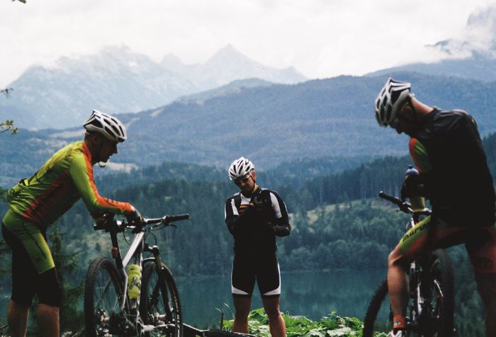 CyclingUnites MTB Mountain Bike Outdoors Nature Bicycle Autumn Autumn Colors Mountain Range Bavarian Alps Bavaria Germany The Alps Cyclist Cross Country Outdoor Activity Outdoor Clothing Helmet Mountain Adventure Sports Clothing Sport Analogue Photography Togetherness First Eyeem Photo