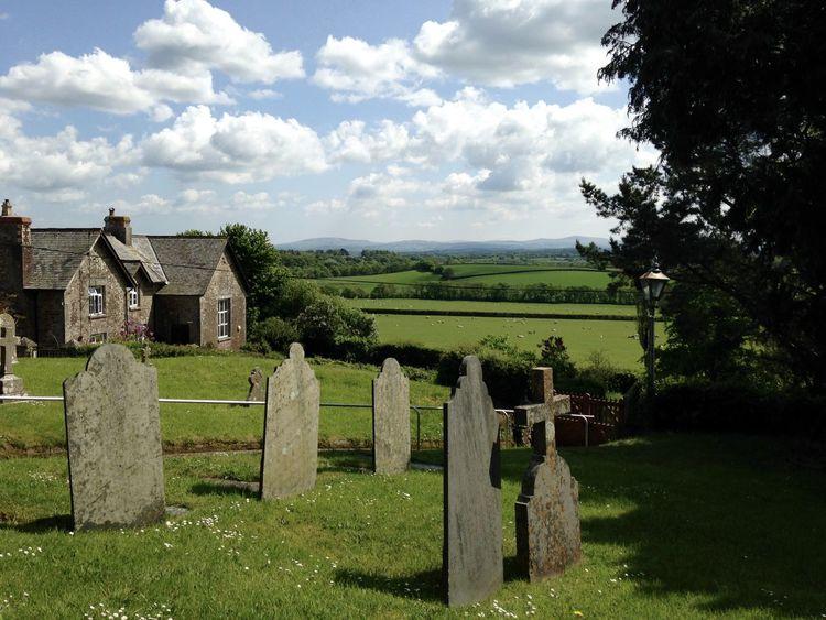 Restfulness Celtic Cross Churchyard View Crosses & Headstones Devon UK England, UK Green Green Green!  Looking Across To Dartmoor Pastoral Scene Verdant