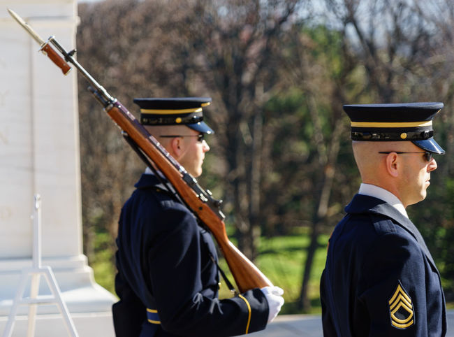 Arlington National Cemetary Casual Clothing Change Day Front View Full Length Hobbies Holding Honor Guard Leisure Activity Lifestyles Men Music Occupation Real People Showcase: December Side View Standing Three Quarter Length USA Virginia Young Adult Young Men