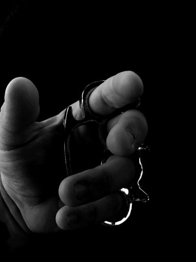 Human Hand Black Background Human Body Part Brass Knuckles Blackandwhite Photography