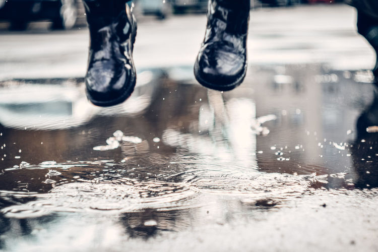 Low section of people in puddle