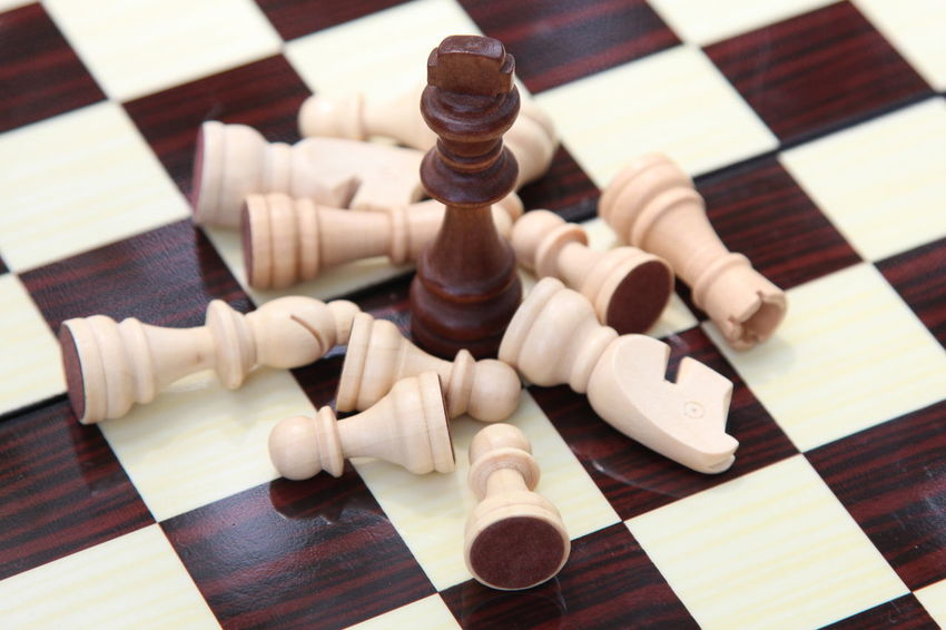 Board Game Checked Pattern Chess Chess Board Chess Piece Close-up Day High Angle View Indoors  Intelligence King - Chess Piece Knight - Chess Piece Leisure Games No People Pawn - Chess Piece Queen - Chess Piece Skill  Still Life Strategy Wood - Material