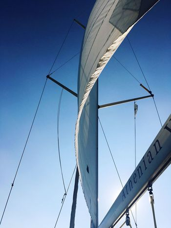 Yachting Yachts Yacht EyeEm Selects Low Angle View Day No People Clear Sky Outdoors Blue Sky Wind Power Mast