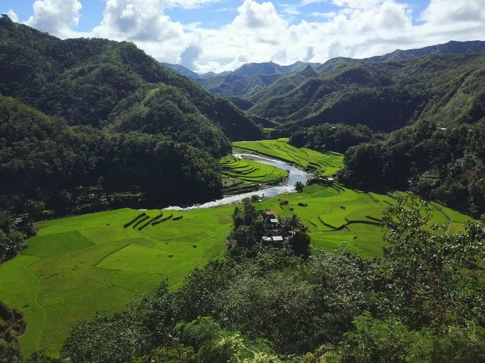 High Angle View Of Green Landscape Against Sky