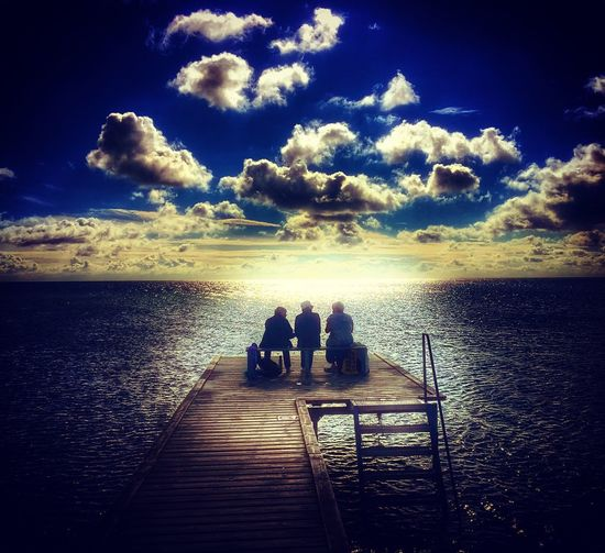 The chosen three. Almost every morning these three ladies meet a the local jetty to have a chat and a cup of coffee Sea Silhouette Togetherness Cloud - Sky Jetty Hello World Baltic Sea Denmark Love Friends